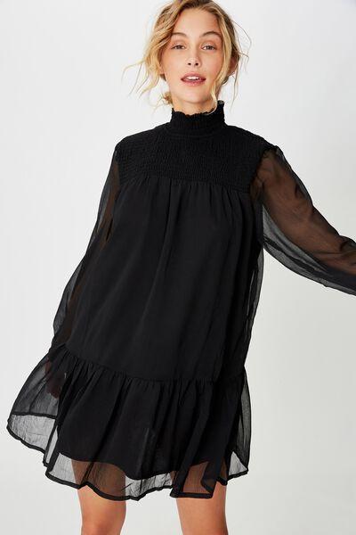 Woven Mish Shirred Mock Neck Mini Dress, BLACK