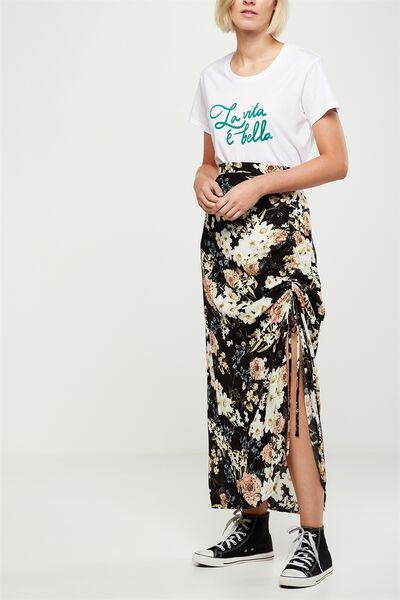 Woven Elora Rouched Maxi Skirt, DANI FLORAL TOTAL ECLIPSE