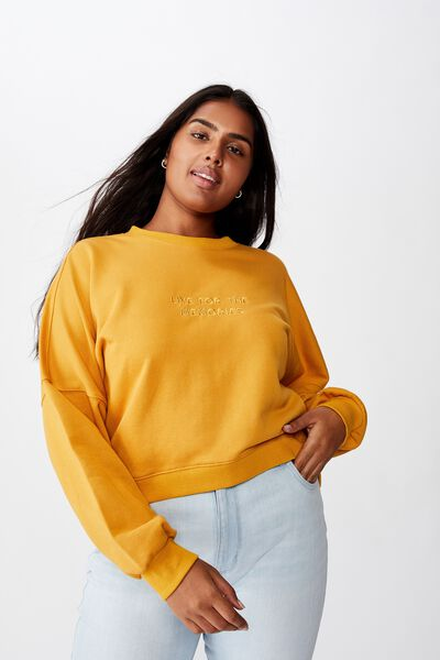 Curve Harper Crew Crop Pullover, LIVE FOR THE MEMORIES/NARCISSUS