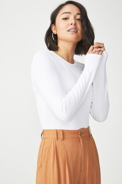 Baby Tee Long Sleeve Bodysuit, WHITE