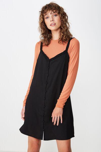 Woven Laurie Ruffle Neck Mini Dress, BLACK
