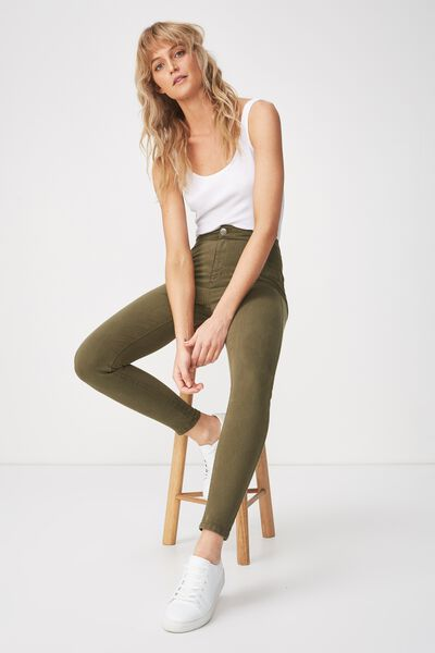 High Rise Jegging, KHAKI