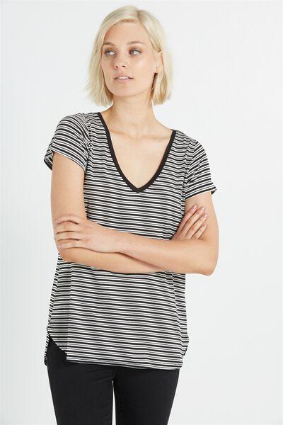 Keira Short Sleeve V-Neck T Shirt, ALI STRIPE WHITE/BLACK