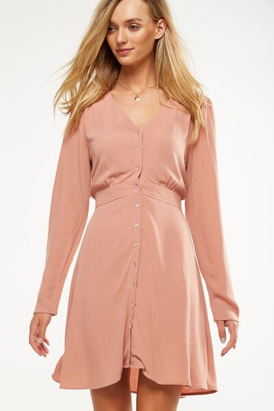 Woven Bella Long Sleeve Tea Dress, DUSTY BLUSH