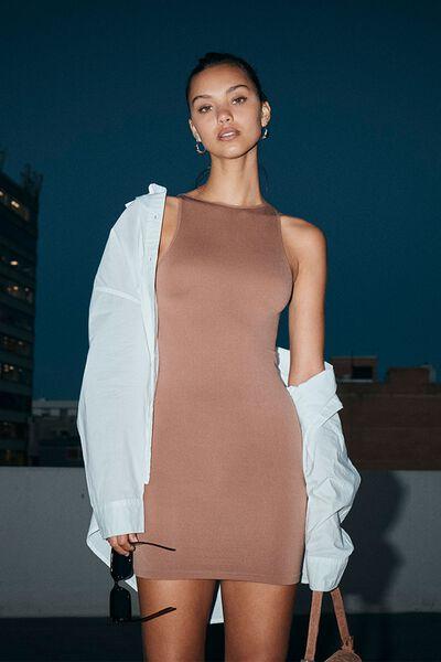 Junie Seamless High Neck Tank Mini Dress, COCOA BEAN