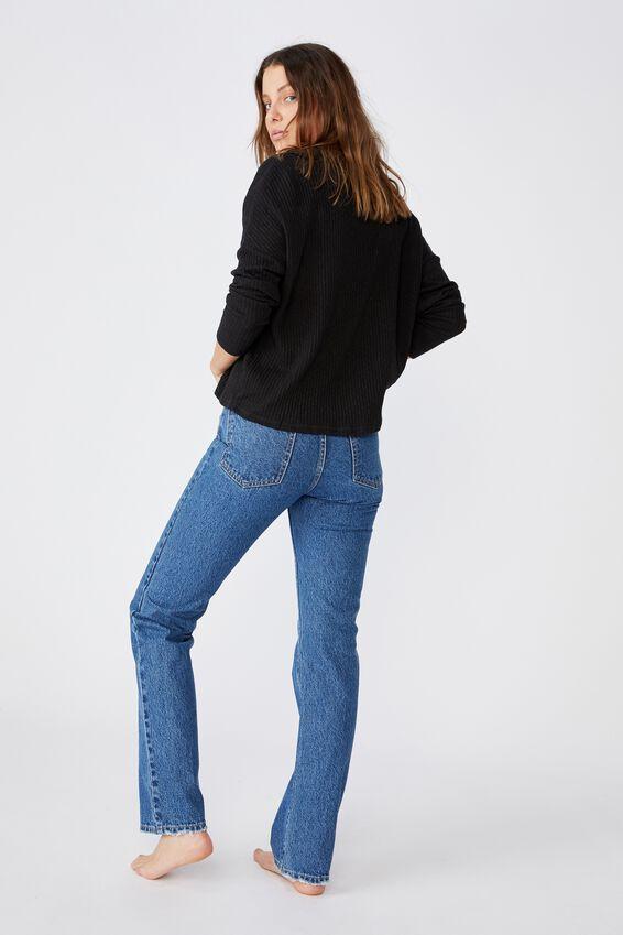 Gigi Long Sleeve Cardigan, BLACK