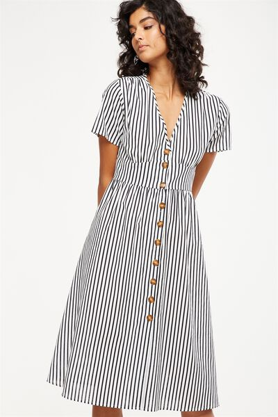 Woven Gigi Button Through Midi Dress, MILY STRIPE BRIGHT WHITE