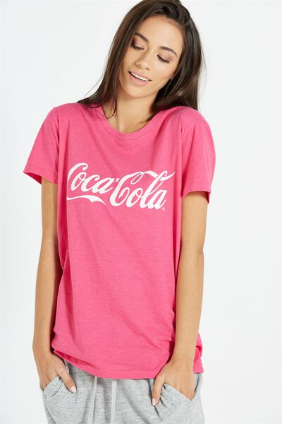 Tbar Fox Graphic T Shirt, LCN COKE/HOT PINK MARLE