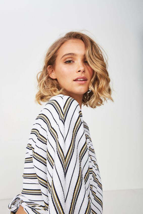 Jude Kimono Sleeve Top, JAMIE STRIPE WHITE/ANTIQUE GOLD TEXTURE