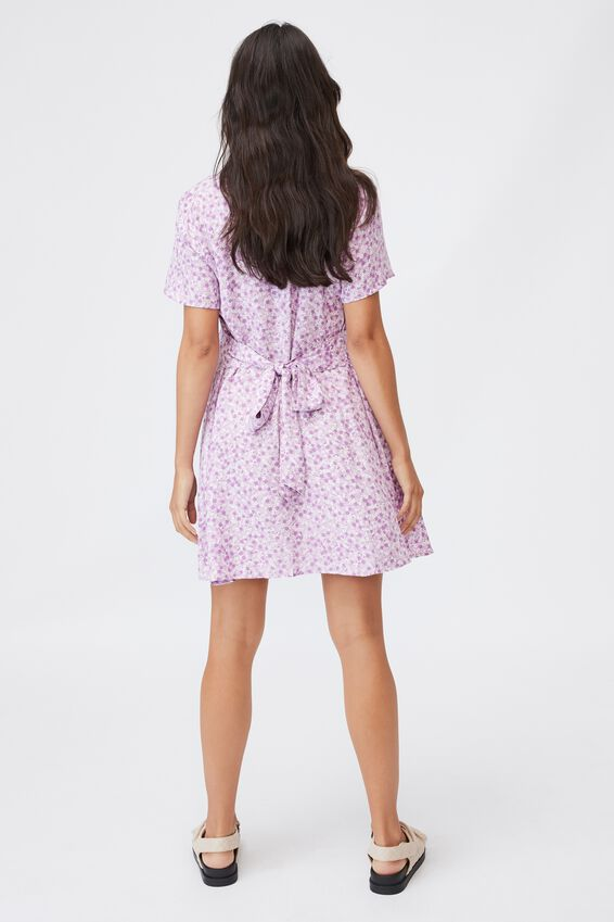 Maternity Woven Button Front Mini Dress, QUINN DITSY LILAC