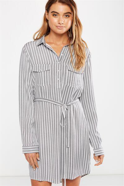 Woven Tammy Long Sleeve Shirt Dress, HARRIET STRIPE