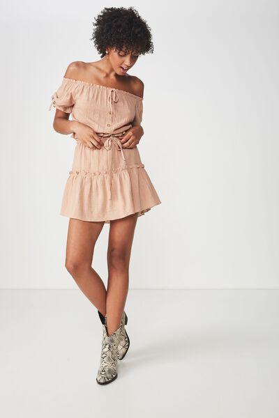 Woven Tyra Textured Mini Skirt, ROEBUCK