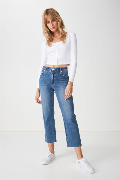 Mid Rise Straight Crop Stretch Jean, EVA MID BLUE