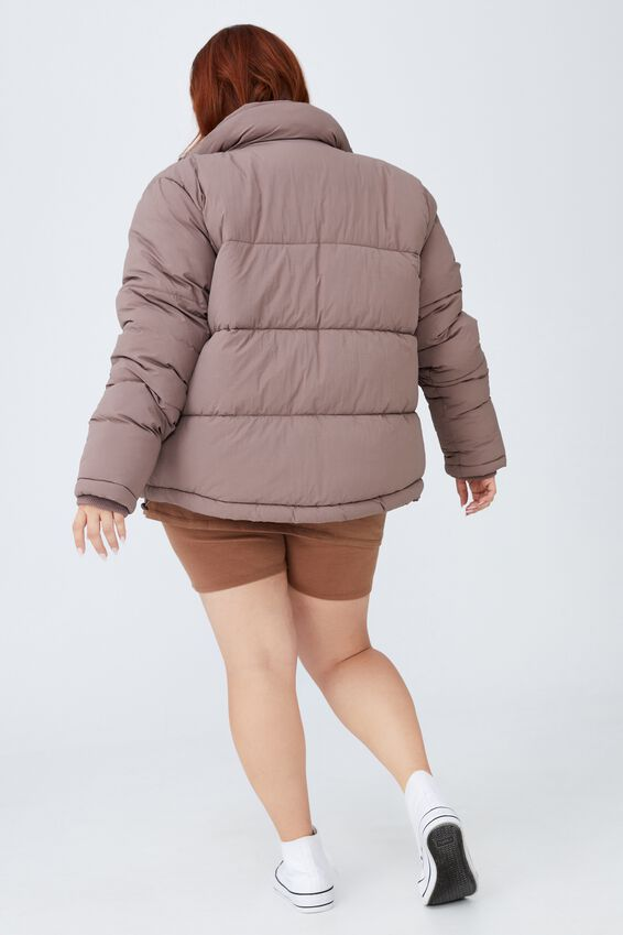 Curve Crinkle Puffer Jacket, RAW UMBER