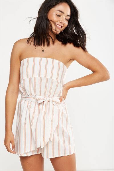 Woven Connie Bandeau Playsuit, RIVERIA STRIPE SUNBAKED