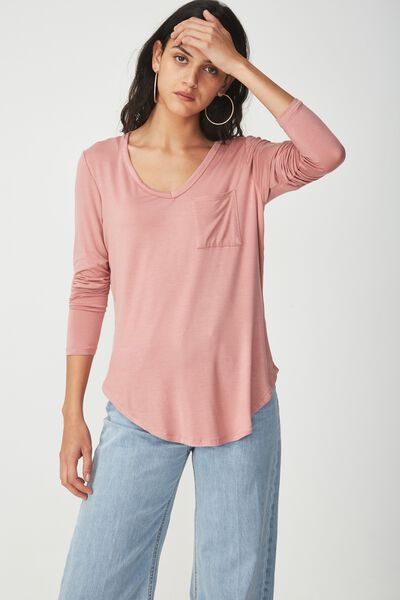 Karly Long Sleeve Top, ANTIQUE MAUVE