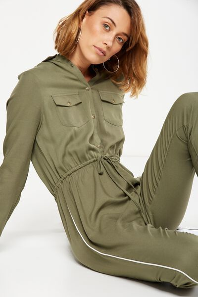 Woven Long Sleeve Boiler Suit, SOOT
