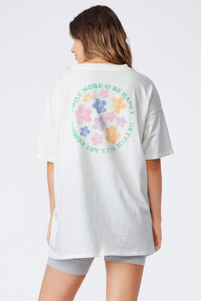 Oversized Graphic T Shirt Dress, SMILE MORE AND BE HAPPY/VINTAGE WHITE