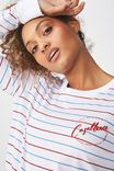 Tbar Tammy Chopped Graphic Long Sleeve Tee, CASABLANCA WHITE/CABERNET AND CAMPANULA STRIPE