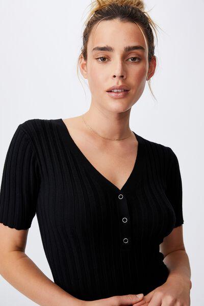Sustain Me Henley Mini Dress, BLACK