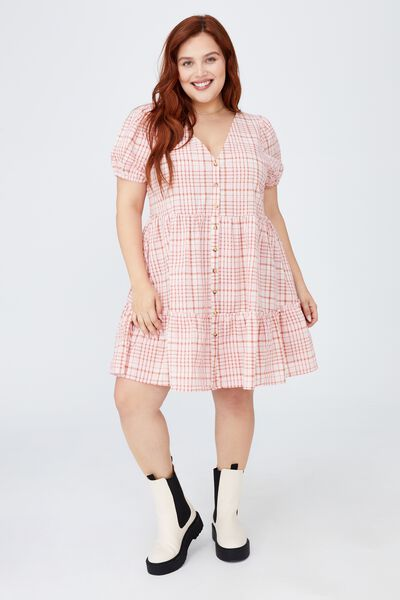 Curve Woven Tessa Babydoll Mini Dress, STEPH CHECK PETAL PINK