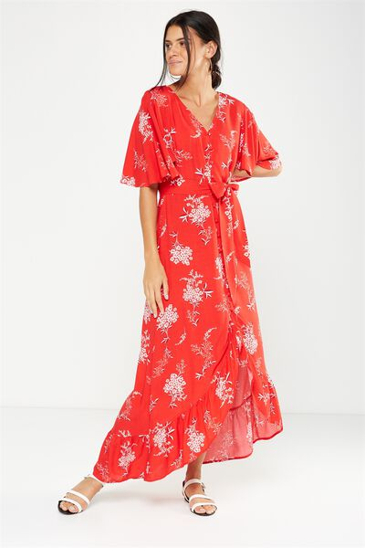 Woven Dallas Cape Sleeve Maxi Dress, STEVIE FLORAL CHINESE RED