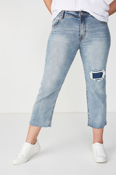 Mid Rise Straight Crop Stretch Jean, PATCH BLUE RIPS