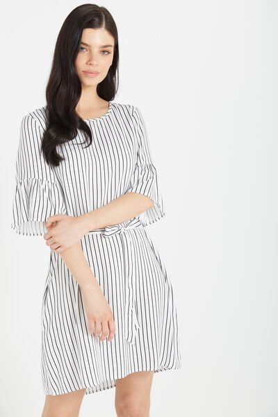 Woven Felicia Frill Sleeve Dress, PILOT STRIPE WHITE/BLACK