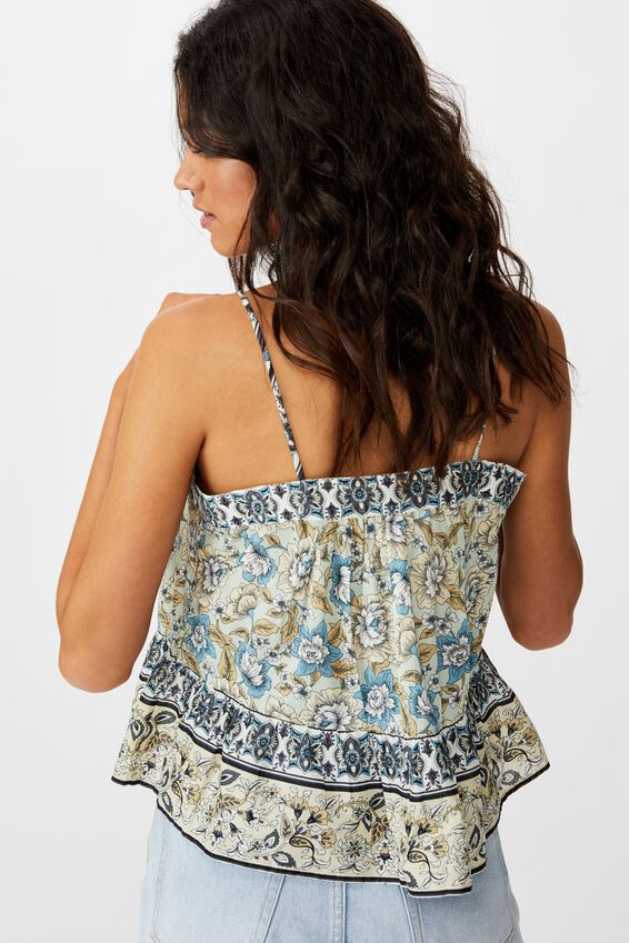 Day Dreamer Button Front Cami, SUNDAY FLORAL BORDER NEO MINT