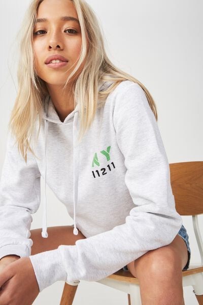 Delevingne Graphic Hoodie, NY BROOKLYN/SILVER MARLE
