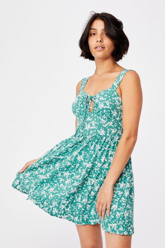 Woven Sandy Skater Dress, LENA DITSY HERITAGE GREEN