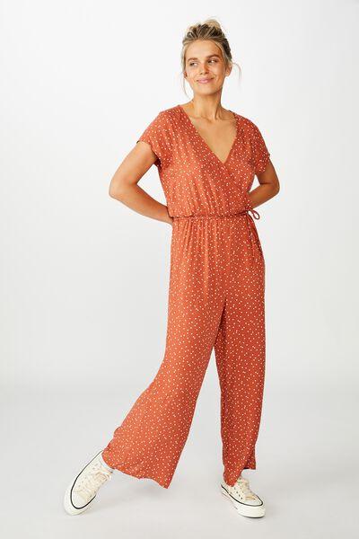 Woven Janine Short Sleeve Jumpsuit, DAISY SPOT DUSTY BROWN
