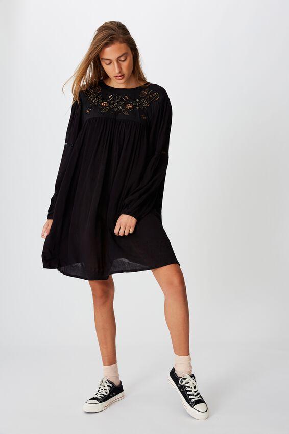 Woven Festival Smock Mini Dress, BLACK