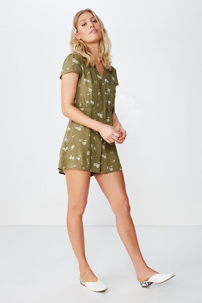 d072ef9349d8f Woven Aria Short Sleeve Playsuit, CLARA FLORAL LIGHT OLIVE