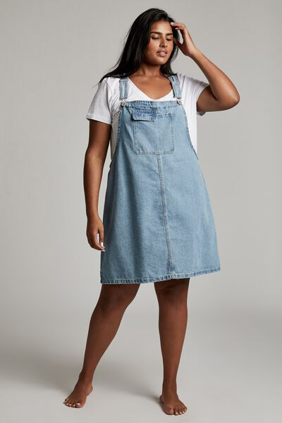 Curve Utility Denim Pinafore, BRUNSWICK BLUE