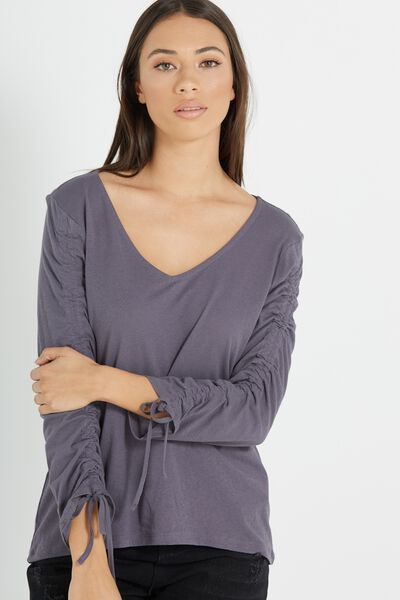 Alice Rouched Long Sleeve Top, GREY SCALE