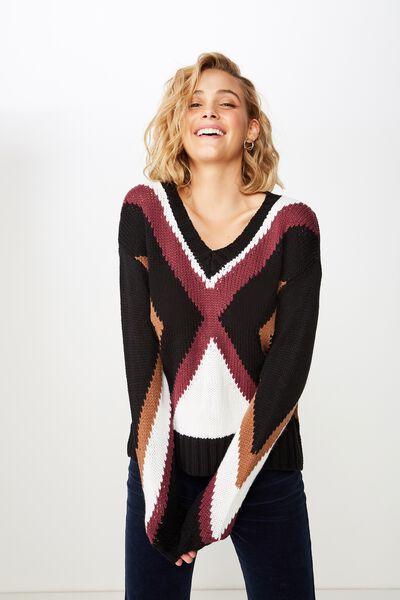 Kirsty Fashion V Neck Pullover, DARK BASE