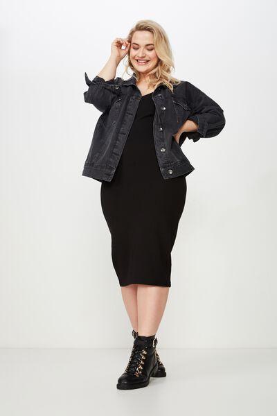 Curve Bodi Con Dress, BLACK