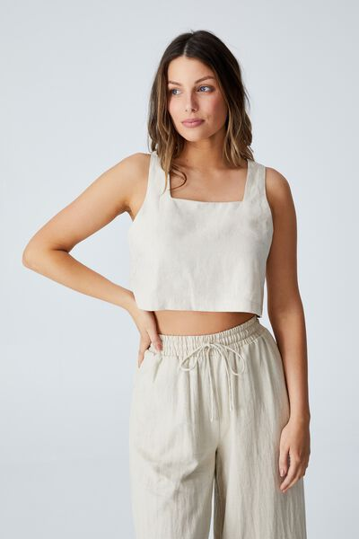 Day Dreamer Cropped Shell Top Petite, NATURAL MARLE