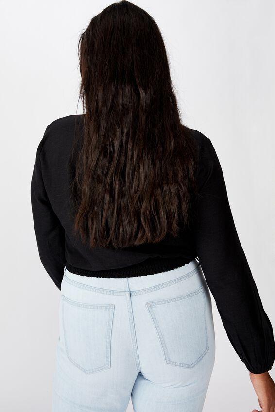 Curve Twist Front Blouse, BLACK
