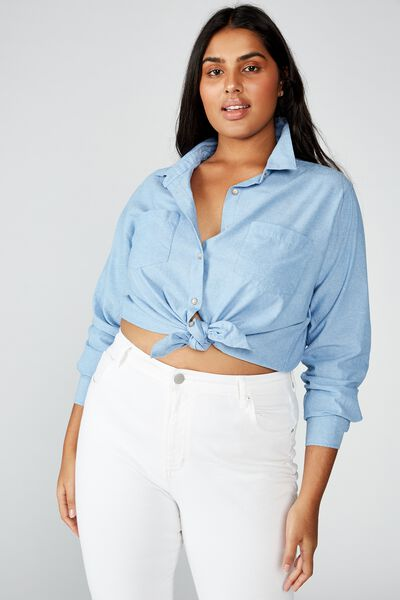 Curve Lucy Shirt, LIGHT BLUE WASH