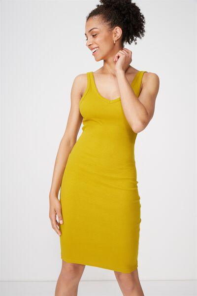 Berlin Double V Neck Body Con Midi Dress, GOLDEN PALM RIB