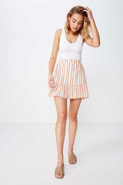 Woven Jordana Mini Skirt, ORANGE STRIPE