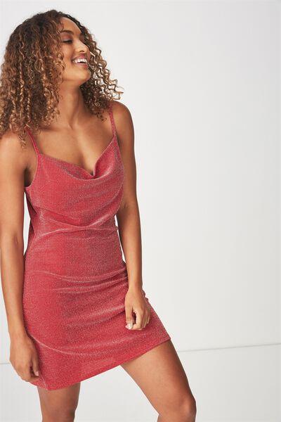 Cowl Neck Mini Dress, RED