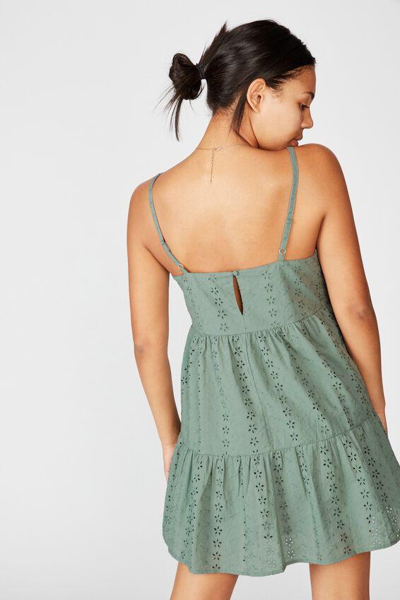 Woven Betty Tiered Mini Dress, CHINOIS GREEN