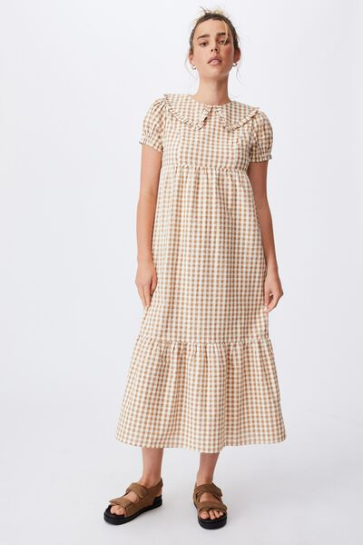 Woven Nori Babydoll Wide Collar Medaxi Dress, GERI GINGHAM BRONZED CAMEL/PASTRY