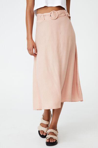 Kelly Belted Midi Skirt, TIFFANY SPOT EVENING SAND