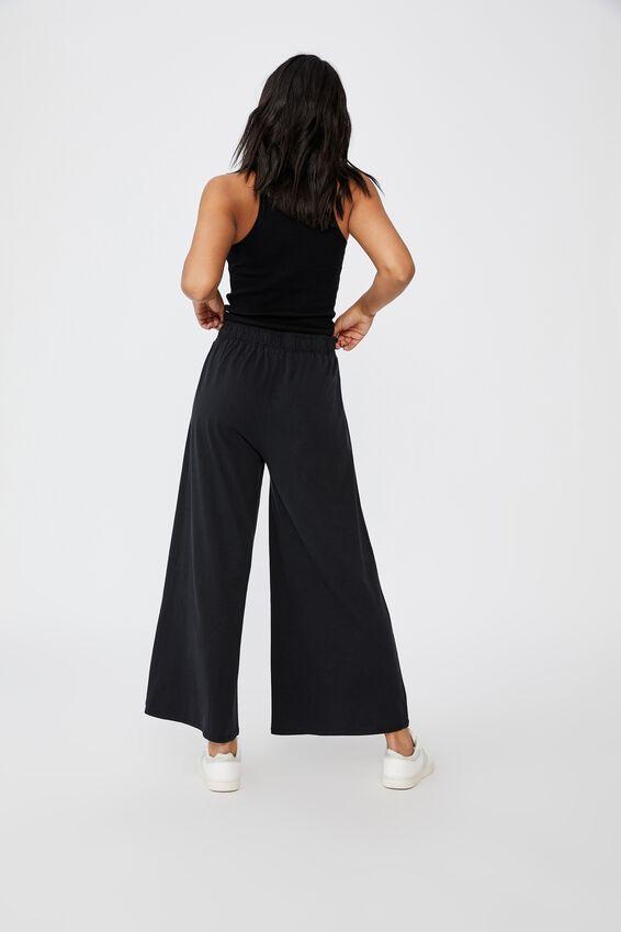 Wide Leg Lounge Track Pant, WASHED BLACK
