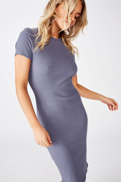 Essential Short Sleeve Bodycon Midi Dress, GRISAILLE RIB