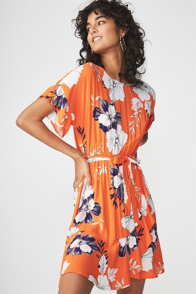 Woven Bray Short Sleeve Wrap Dress, RENEE FLORAL CELOSIA ORANGE